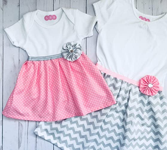 029b5544e2daa Amazon.com: Big sister and Little sister matching dress outfits in grey and  pink: Handmade