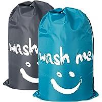 Jasinber Set de 2 Bolsa de lavanderia, Juego de bolsa de lavandería extra grande para viajes, bolsa de almacenamiento sucia de nylon (Azul y gris)