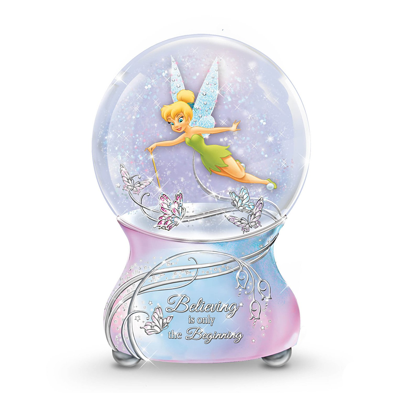 Disney Tinker Bell Musical Glitter Globe with Sentiment by The Bradford Exchange 01-25197-001