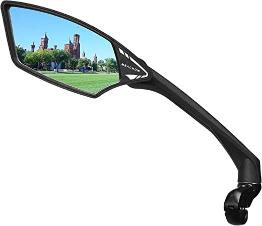 MEACHOW New Scratch Resistant Glass Lens,Handlebar Bike Mirror, Rotatable Safe Rearview Mirror, Bicycle Mirror,ME-006(2019-2020)