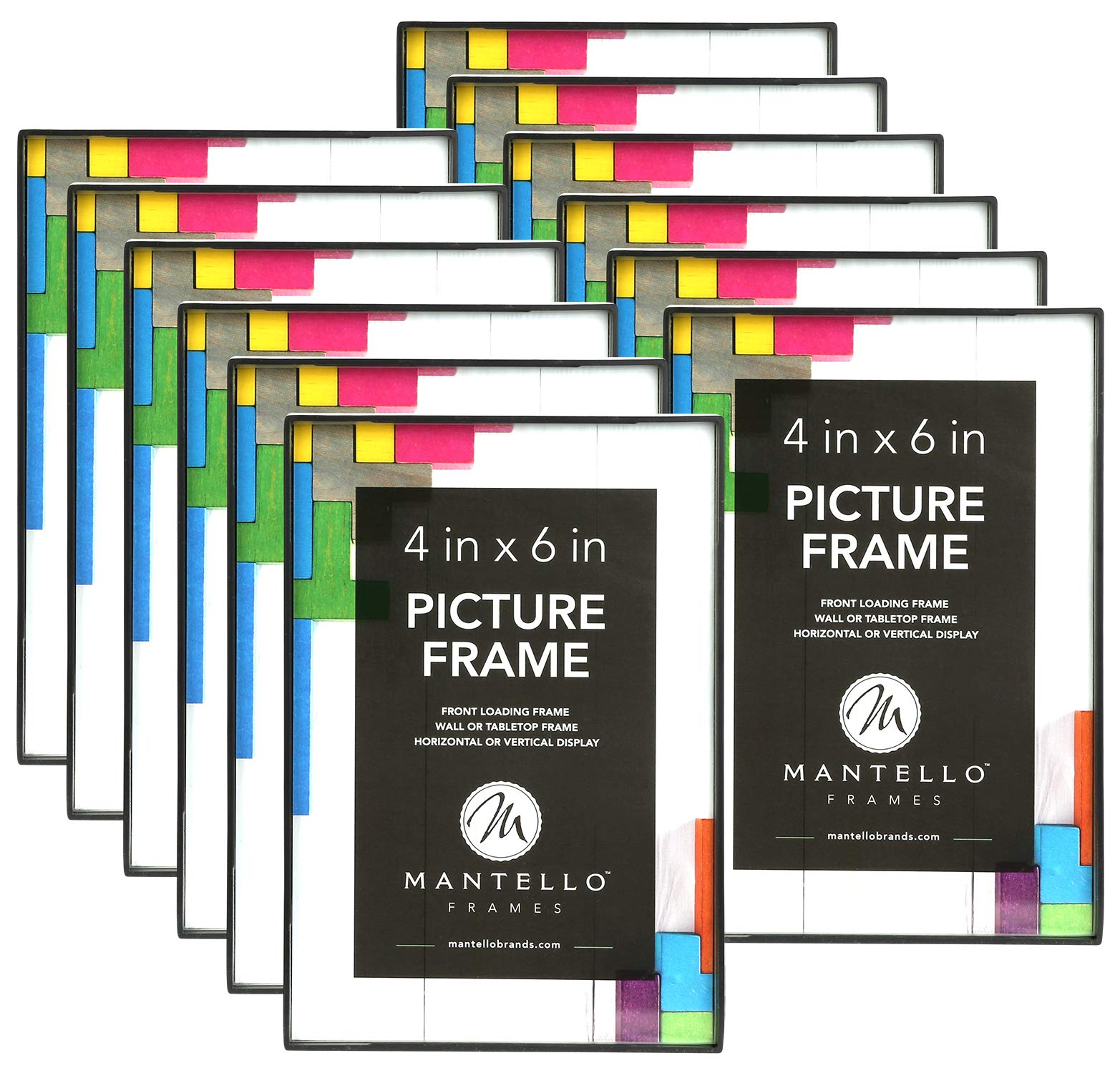 Mantello 4x6 Inch Picture Frame,12-Pack, Black, Front Loading Design by Mantello