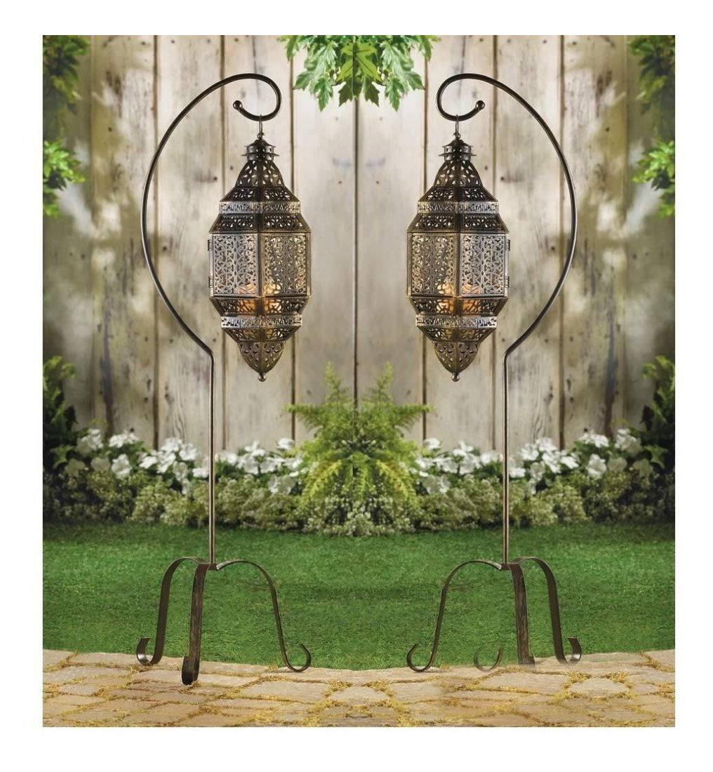 2 Large Hanging Moroccan Pendant Lantern Candle Holder lamp Floor Stand Outdoor