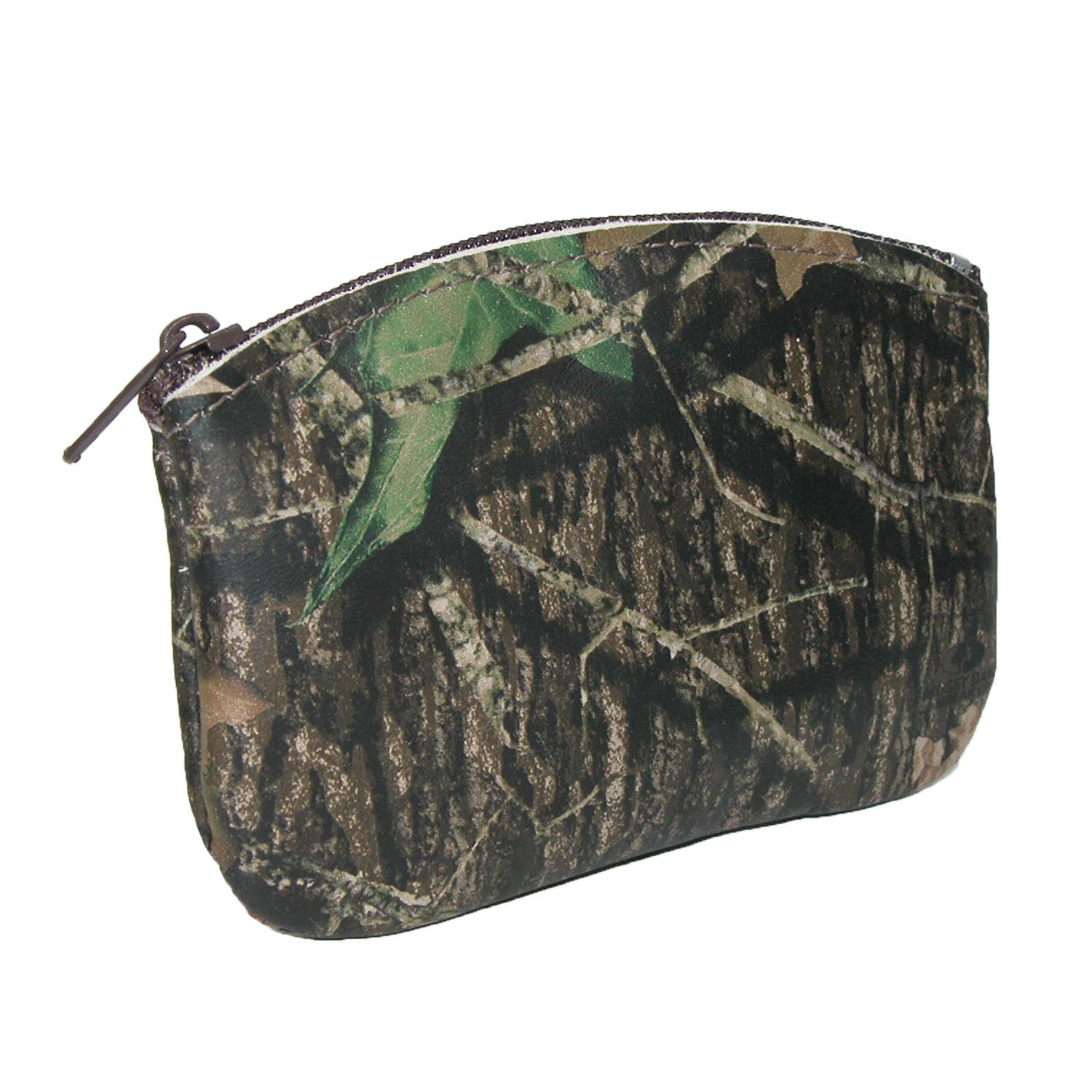 CTM® Leather Camouflage Print Credit Card Pouch and Coin Holder NS-912CAMO-GRN