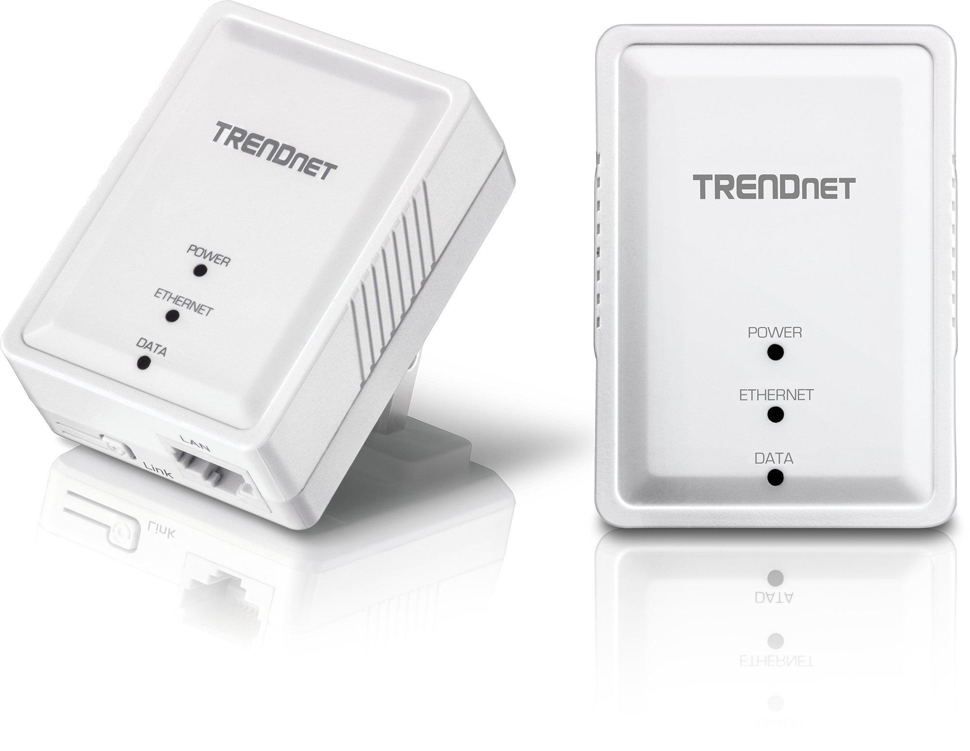 TRENDnet Powerline 500 AV Nano Adapter Kit, Includes 2 x TPL-406E Adapters, Cross Compatible with Powerline 600/500/200,Windows 10, 8.1, 8, 7, Vista, XP, TPL-406E2K by TRENDnet
