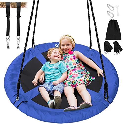 Best Choice Products Kids Indoor Outdoor Hanging Hammock Swing Tent Set w Inflatable Base, Ropes, and Multicolor LED String Lights, Blue