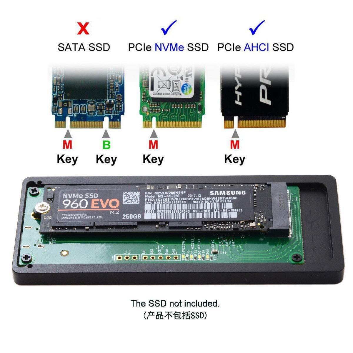 Cablecc Thunderbolt 3 to PCI Express PCI-E to NVME NGFF M-key AHCI SSD Enclosure