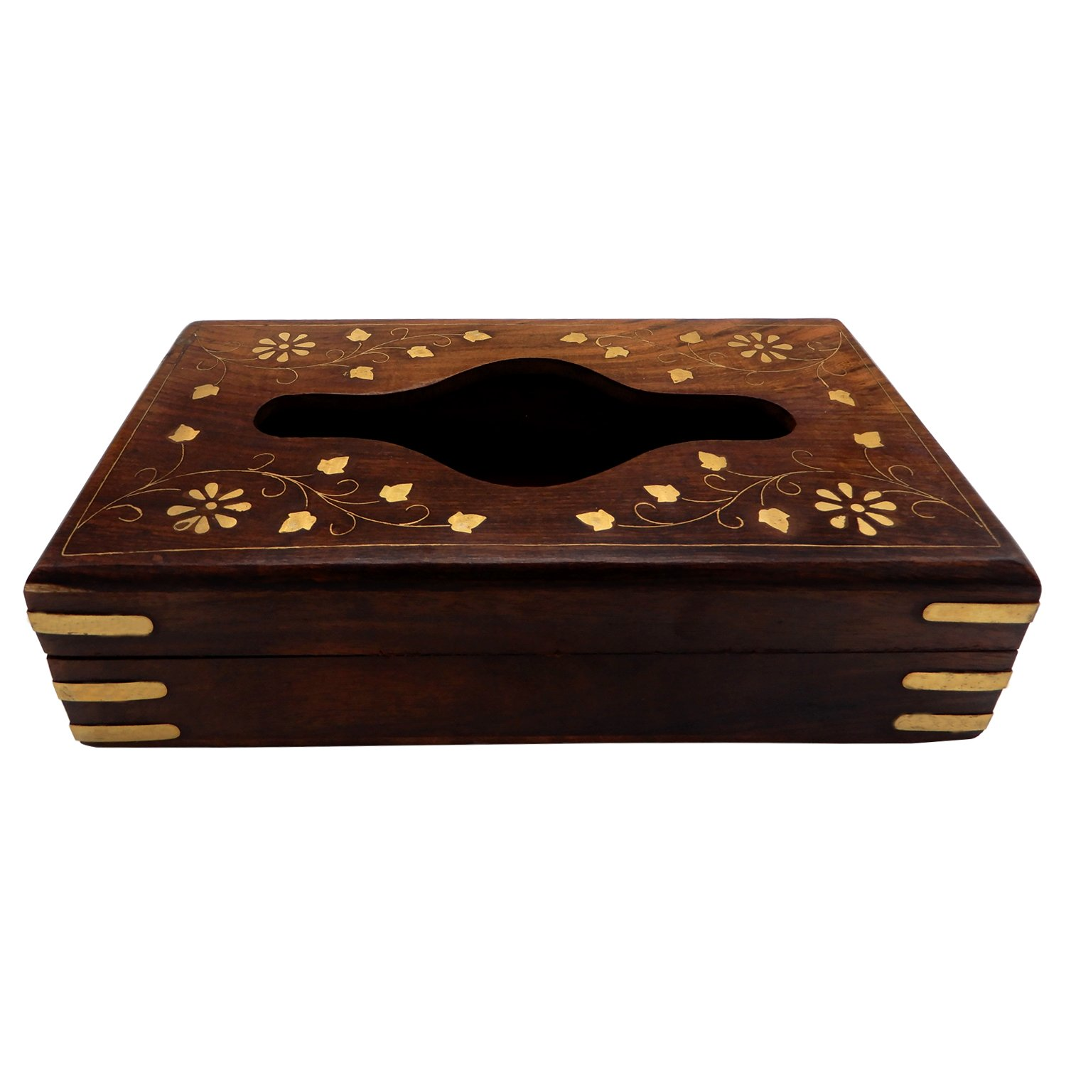 IndiaBigShop Hand Crafted Wooden Large Tissue Box Holder With Decorative Brass Inlay Design For Tissue Organising Purpose 9 Inch