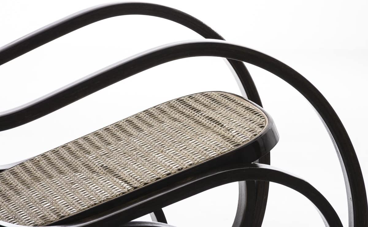 Rilassarsi Comodamente ed elegantemente Noce CLP Sedia a Dondolo in Legno ARBORIS Seduta in Rattan e Telaio Color Noce