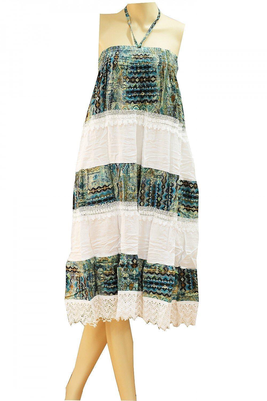 Damen Sommerkleid Strandkleid Boho Kleid Streifen Sommerrock Lang Maxi Rock Bohemia Boho Lace Dress