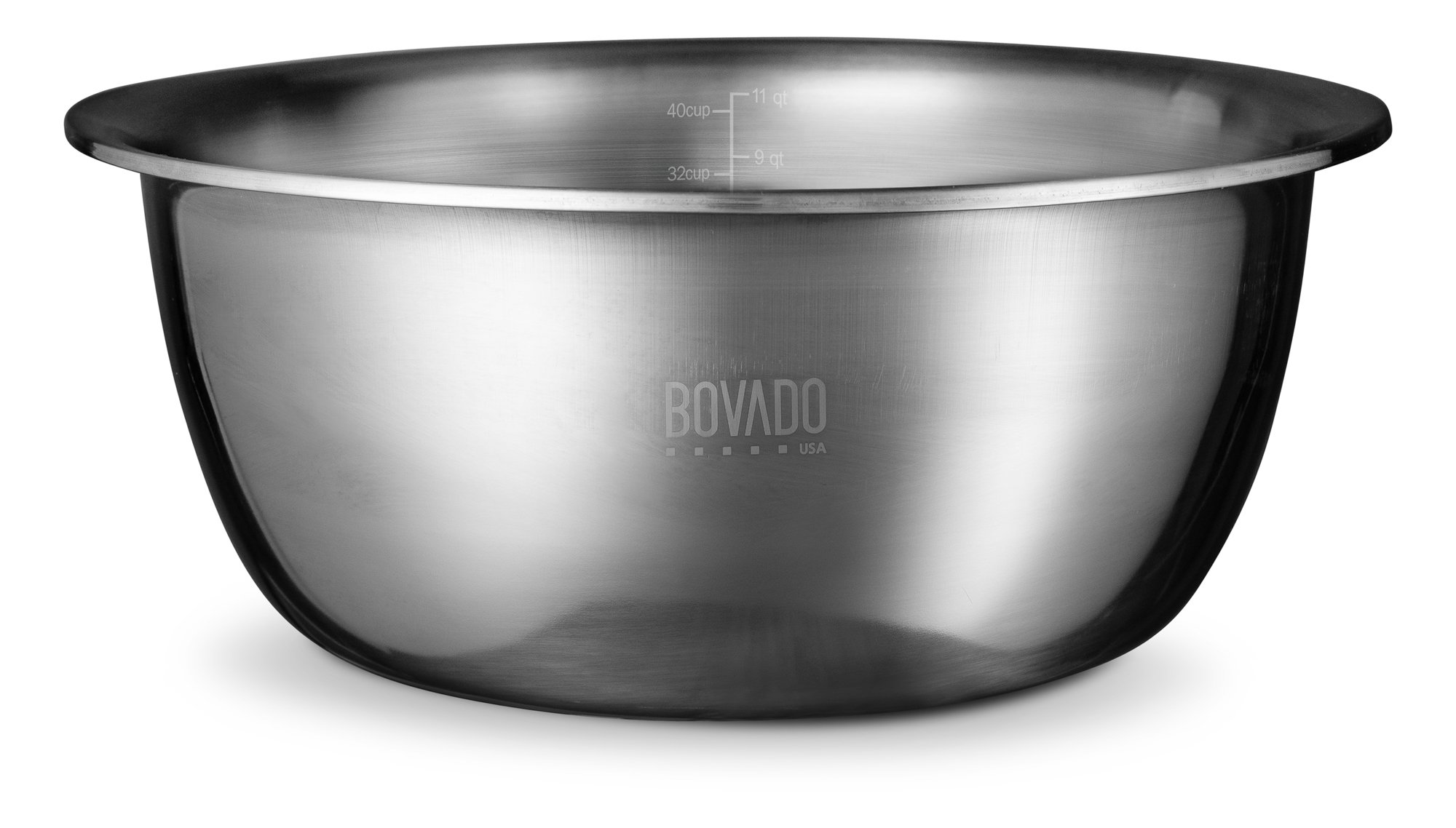 New Design Stainless Steel Mixing Bowl - 11.5qt - Flat Bottom Extra Wide Non Slip Base, Retains Temperature, Dishwasher Safe - By Bovado USA