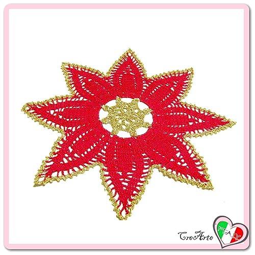 Centrino Stella Rosso E Oro Per Natale In Cotone Alluncinetto