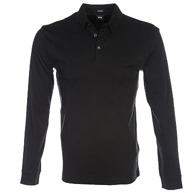 d5385f4ec BOSS Hugo Boss Long Sleeve Phillian Polo Shirt L Black: Amazon.co.uk:  Clothing