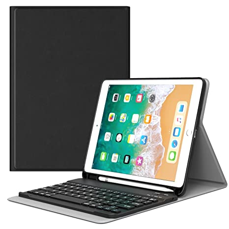 detailed look 15b4a e6570 MoKo Keyboard Case for iPad 9.7 2018 with Apple Pencil Holder - Wireless  Keyboard Cover Case for Apple All-New iPad 9.7 Inch 2018 Released Tablet ...