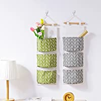 Centory Wall Hanging Storage Bag, Waterproof Over The Door Closet Organizer| Linen Farbric Hanging Pocket Organizer with 3 Remote-Sized Pockets for Bedroom and Bathroom(67 x 20cm)