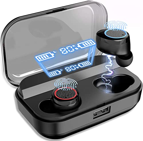 Wireless Earbuds, NPET Bluetooth 5.0 Earbuds with 4000mAh LED Battery Display Charging case, IPX7 Waterproof in-Ear Bluetooth Headset, Hi-Fi Stereo Working Sports Wireless Earbuds Black
