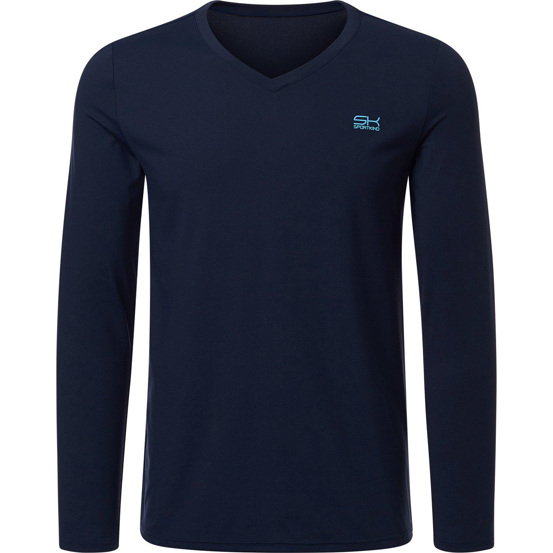 Sportkind Jungen & Herren Tennis/Running / Fitness Langarmshirt, dunkelblau, Gr. XL