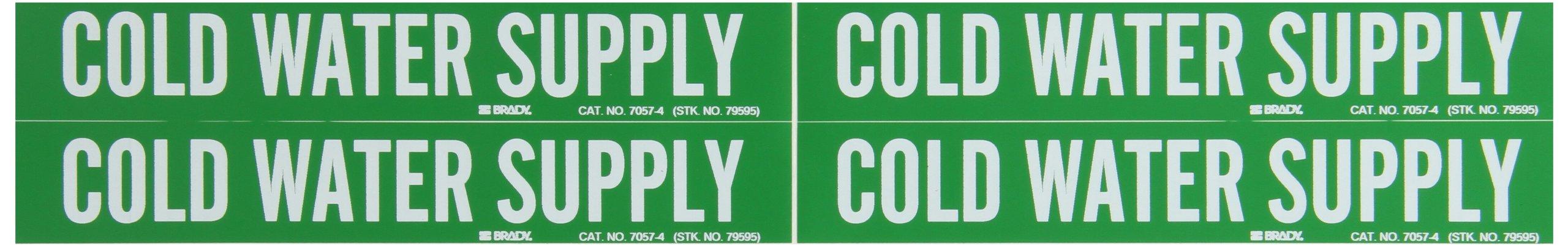 Brady 7057-4 Self-Sticking Vinyl Pipe Marker, B-946, 1 1/8'' Height X 7'' Width, White On Green Pressure Sensitive Vinyl, Legend ''Cold Water Supply''