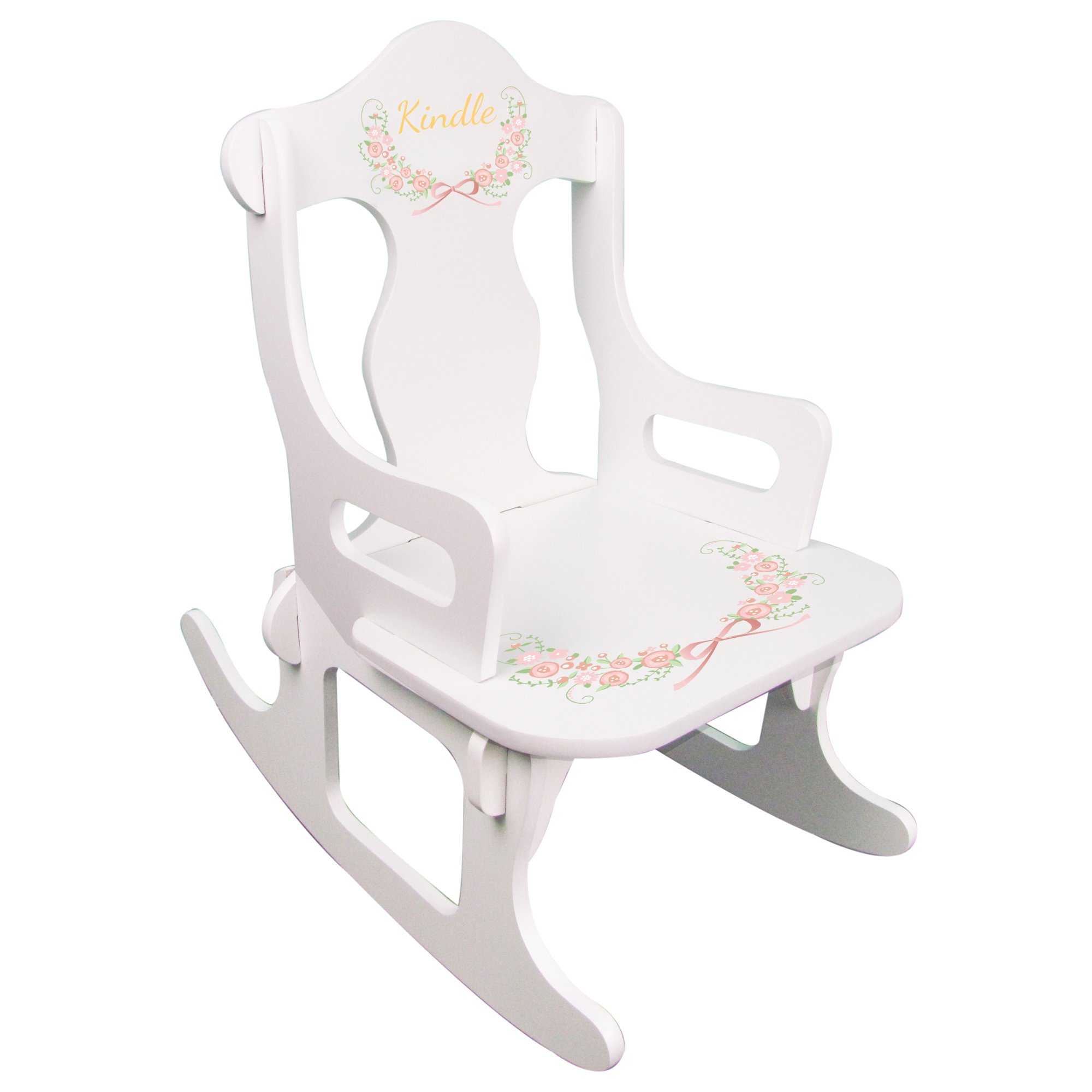 Personalized Child's Train Blush Floral Rocking Chair