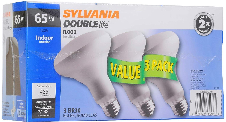 Amazon.com: SYLVANIA Home Lighting 17001 Incandescent Bulb, BR30-65W-2850K, Double Life, Reflector Lamp, Medium Base, Pack of 3: Home Improvement