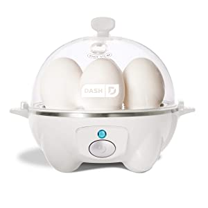 Dash Rapid Egg Cooker: 6 Egg Capacity Electric Egg Cooker for Hard Boiled Eggs, Poached Eggs, Scrambled Eggs, or Omelets with Auto Shut Off Feature - White (Renewed)