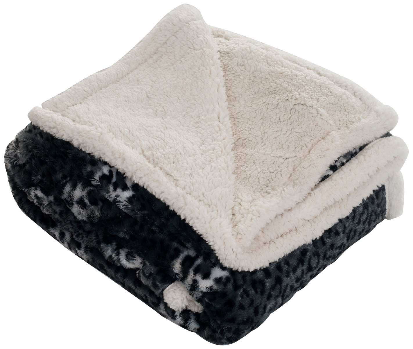 Lavish Home Throw Blanket, Fleece/Sherpa, Cheetah