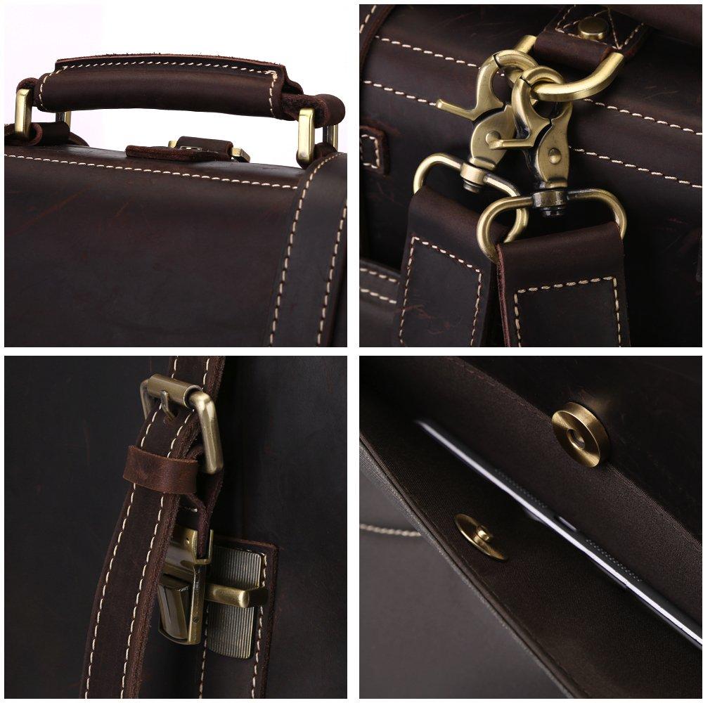 S-ZONE Vintage Crazy Horse Genuine Leather Backpack Messenger Shoulder Bag S -ZONE D10V055B 2d328f9b84b41