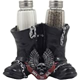 Decorative Black Motorcycle Biker Boots Glass Salt and Pepper Shaker Set Figurine with Born to Ride Banner, Skull & Eagle Wings Symbol for Bar or Kitchen Decor As Gifts for Harley Riders