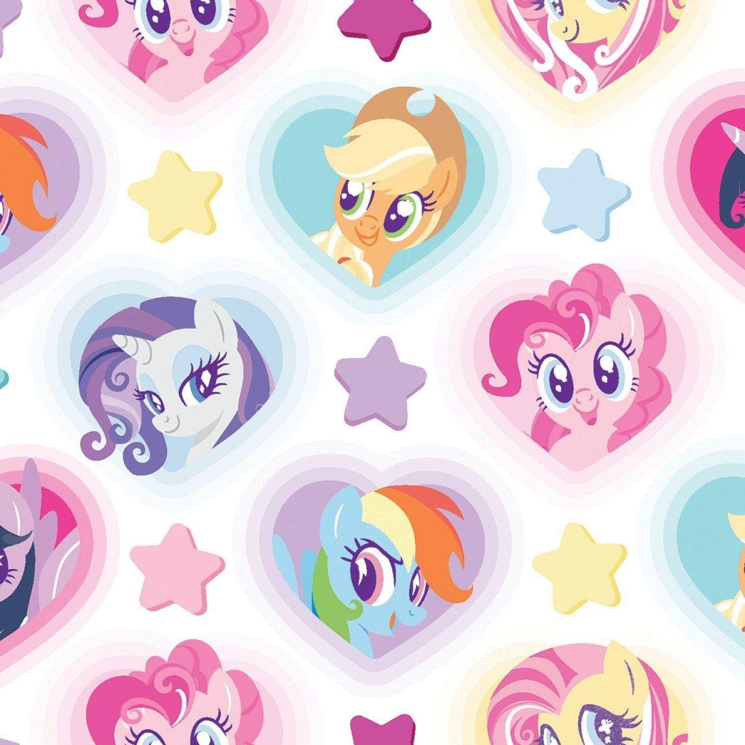 100/% Cotton Fabric Springs Creative My Little Pony Stars /& Hearts