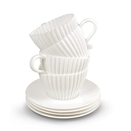 Fred Teacupcakes - Moldes para cupcakes (4 unidades), diseño de taza con platillo