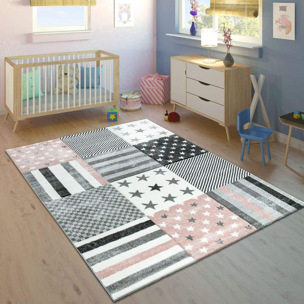 Paco Home Kinderteppich Kinderzimmer Konturenschnitt Stern Muster Rosa Grau Pastellfarben, Grösse:140x200 cm