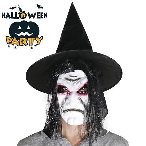 Maschera di lattice della strega di Halloween Fronte spaventoso con i  capelli e il cappello del 30f74d830837