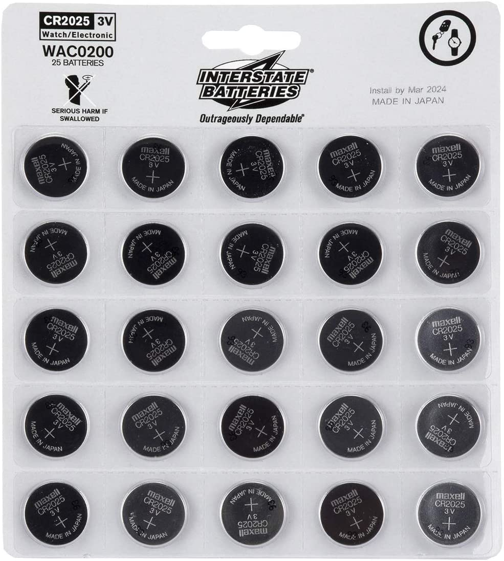 Interstate Batteries CR2025 3V Lithium Coin Battery 25 Pack (WAC0200)