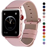 Fullmosa Compatible Apple Watch Band 44mm 42mm 40mm 38mm Calf Leather Smart Watch Band Replacemen,44mm 42mm Soft Pink + Rose Gold Buckle