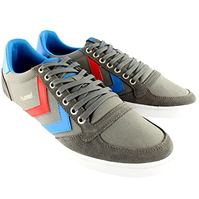 52af7f06e6d Amazon.com   Hummel Womens Slimmer Stadil Low Leather Casual Suede Lace Up  Sneakers - 5 - Gray   Fashion Sneakers