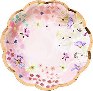 """Talking Tables Blossom Pack of 12-Size 7"""" Premium Quality Floral Plate 7"""" Scallop Edge-Ideal for Birthday Wedding Bridal or Baby Shower-Rose Foil Trim, Dia 17cm, 7"""", Pink And Gold"""