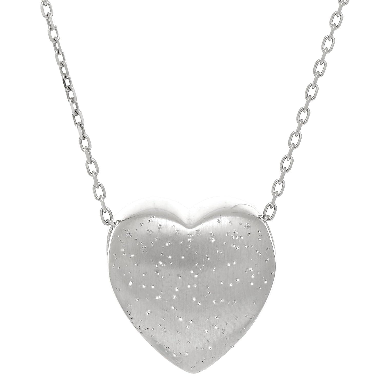Sterling Silver Sliding Heart Shape Charm Necklace 18