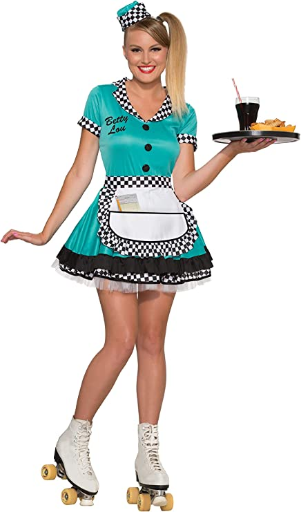 1950s Costumes- Poodle Skirts, Grease, Monroe, Pin Up, I Love Lucy Forum Novelties Womens Betty Lou 50s Diner Waitress Costume  AT vintagedancer.com