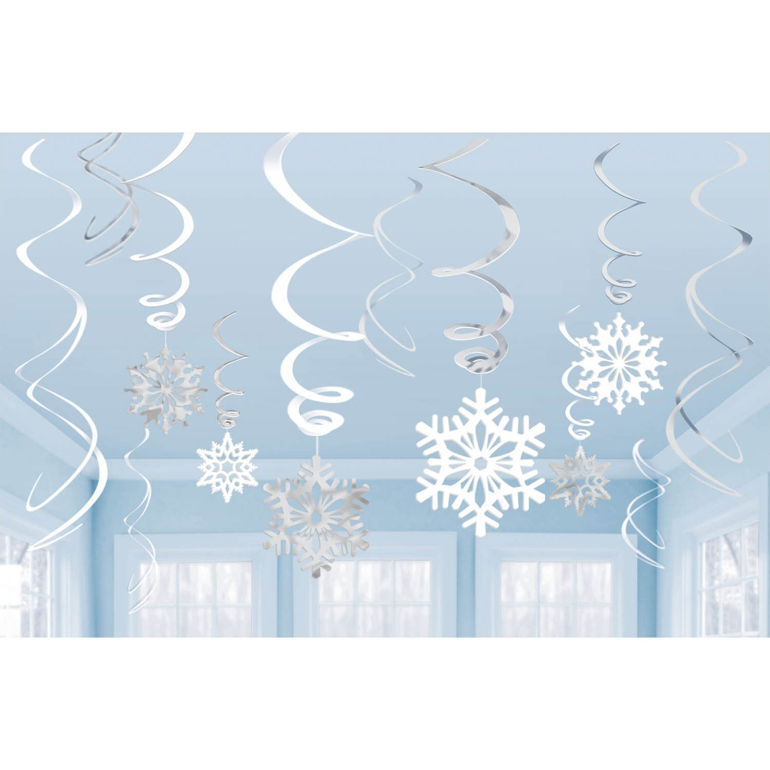 12 Silver + White Hanging Snowflake Swirl Decorations For Frozen Themed Parties TOYLAND