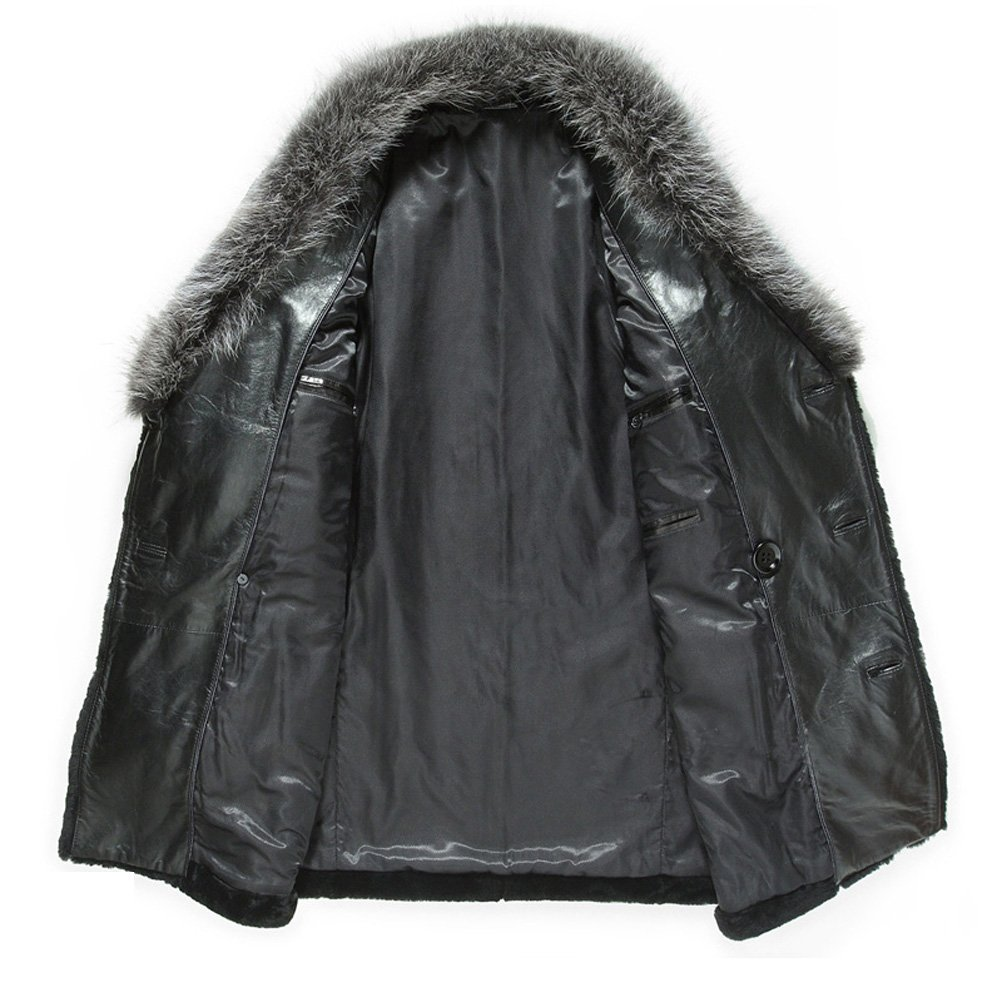 27370368f7c Mens Designer Mink Fur Colla Shearling Fur Coat at Amazon Men s ...