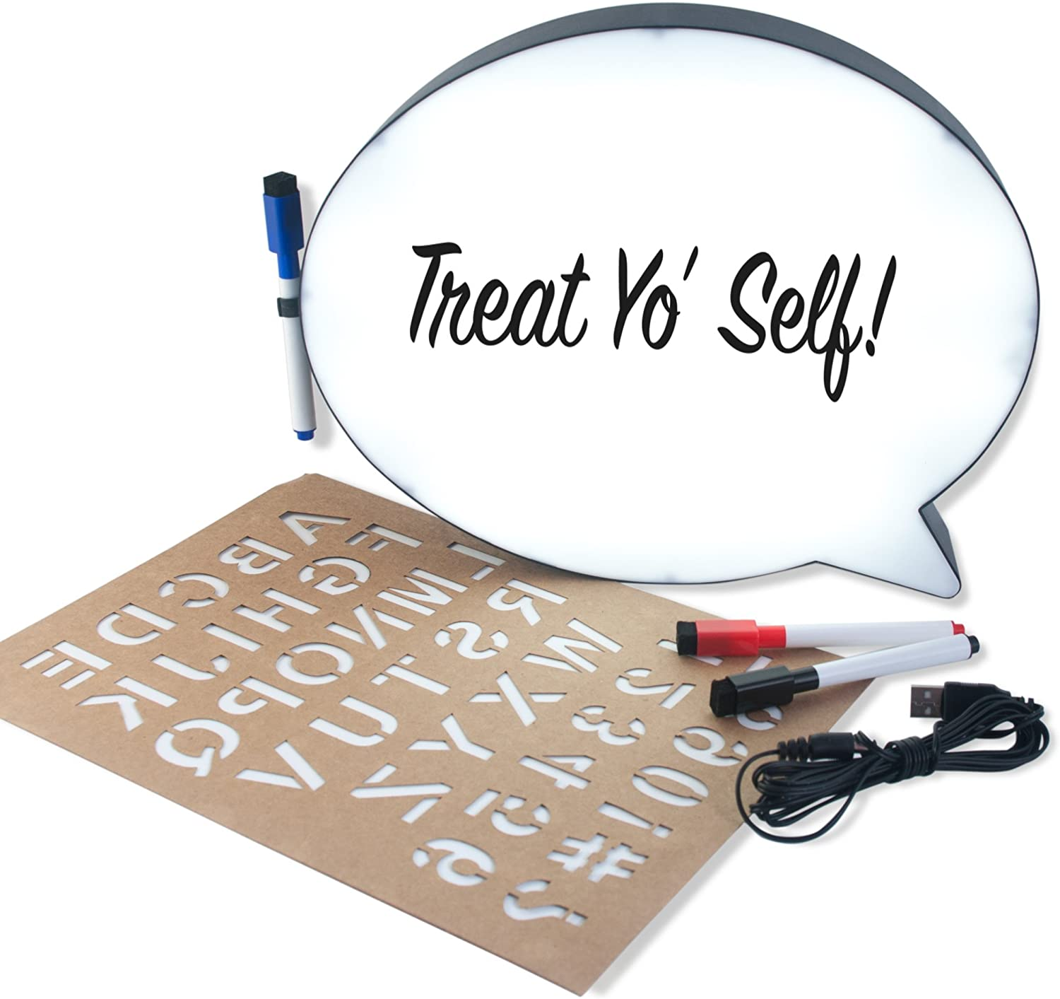 Collective Goods LED Word Bubble Memo Dry Erase Light Up Board /& Picture Frame