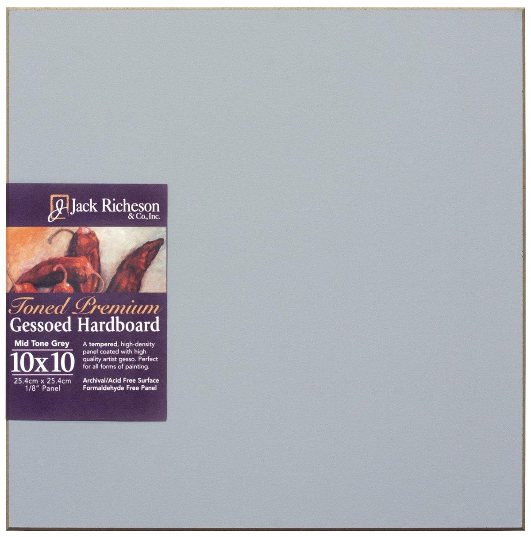Jack Richeson 1611010 Richeson Mid-Tone Grey Toned Gessoed 1//8 Hardboard 10X10