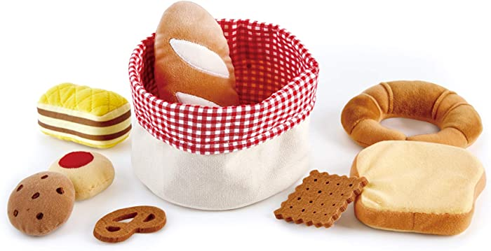 Hape Toddler Bread Basket |Soft Pretend Food Playset for Kids, Bread Toy Basket Includes Toast, Jam Cookie, Cake, Soda Biscuit and More