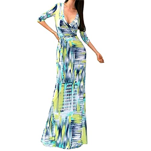 SUNNOW Womens Sexy Ladies Deep V Neck Party Dress Maxi Long Evening Dress