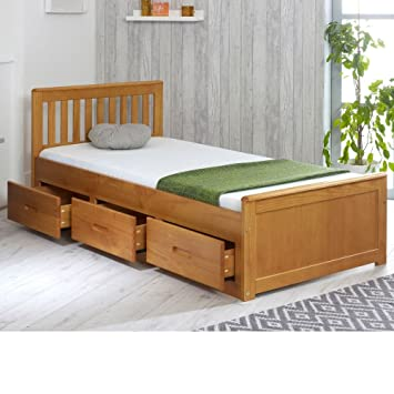Happy Beds Mission Wooden Solid Honey Pine Storage Bed Drawers Furniture With Pocket Flexi Mattress 3