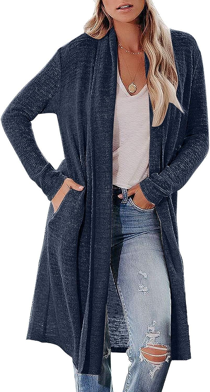 Roskiky Damen Lange Offene D/ünne Strickjacke Langarm Leichte Elegante Cardigan Jacke mit Taschen