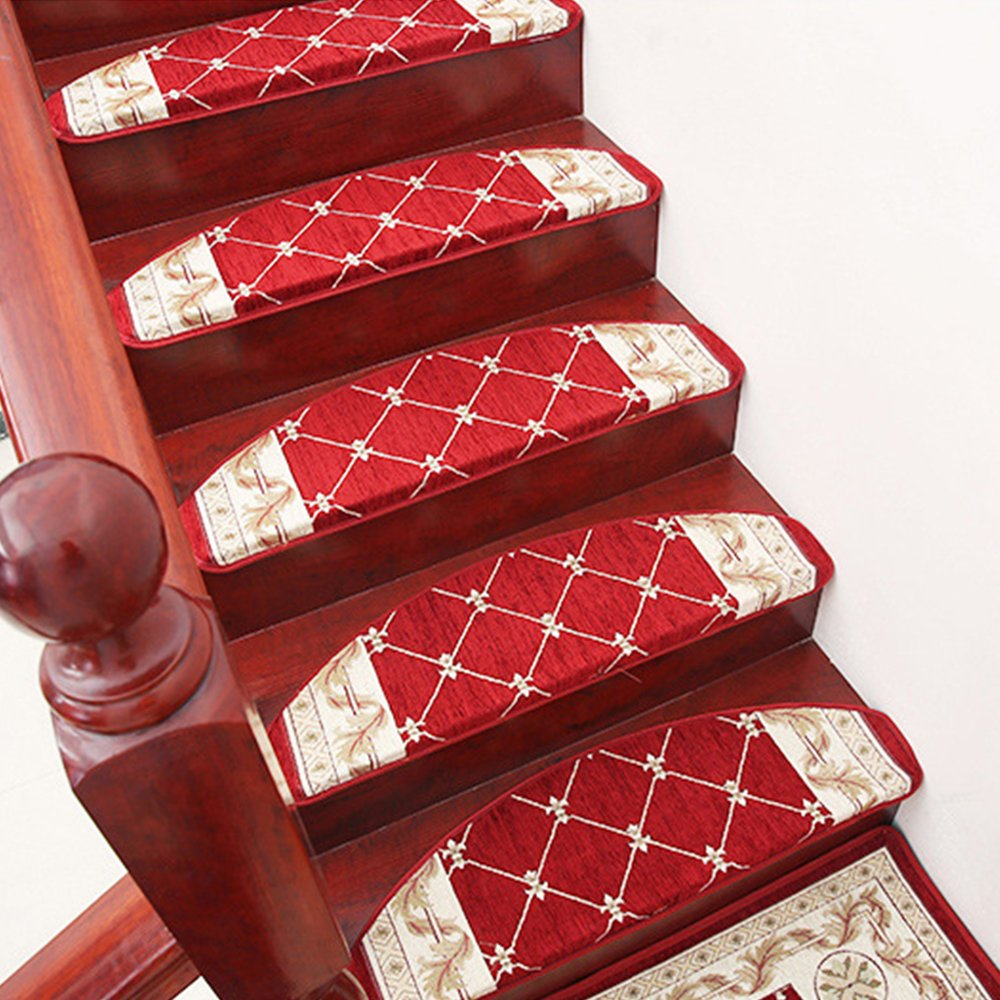 yazi Stair Treads Carpet Morden European Style Floral Stair Tread Mats Non-slip Stair Carpet Step Rugs Stair Tread Mats Non-Skid Stair Carpet Step Rugs, 9.5x25, Dark Red Pack of 13 happyness2014 B01069