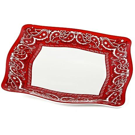 Encore Concepts Bandana Dinner Plates Square 11u0026quot; L Red/White  sc 1 st  Amazon.com & Amazon.com | Encore Concepts Bandana Dinner Plates Square 11