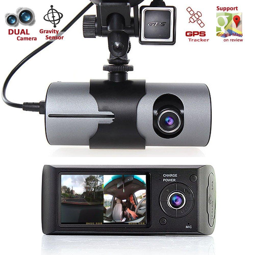 Amazon.com: Indigi GPS Tracker Dash-Cam Dual Camera Driving ...