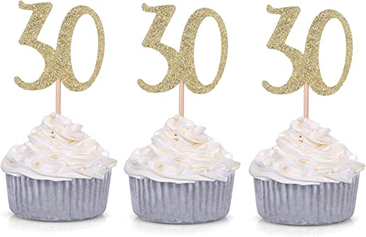 Superb 24 Pack Number 30 Gold Glitter 30Th Birthday Cupcake Toppers Personalised Birthday Cards Cominlily Jamesorg