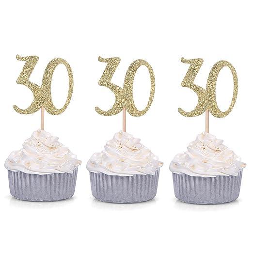 24 unidades, número 30 oro brillante 30Th cumpleaños Cupcake ...